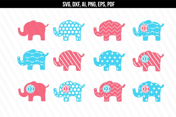 Elephant svg dxf cutting files example image 1