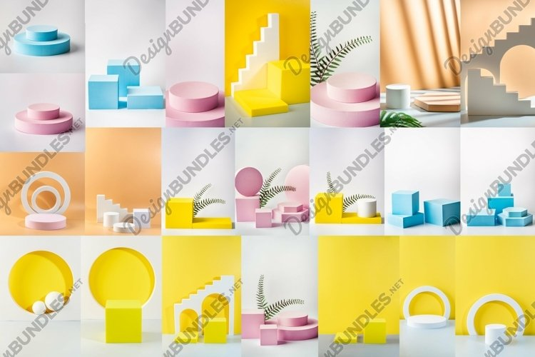 Set of 22 images with different color background of podium