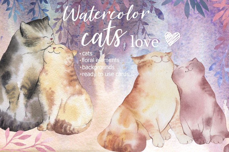 Watercolor Valentines Cats Couples Clipart