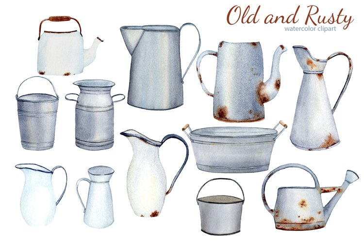 Watercolor Rustic Farmhouse Clipart. Vintage French country example 1
