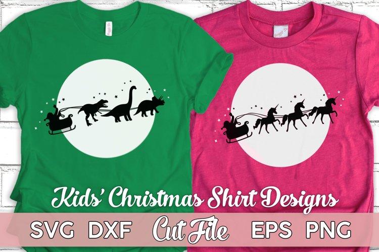 Kids Christmas SVG Bundle   Santas sleigh vector   girl boy
