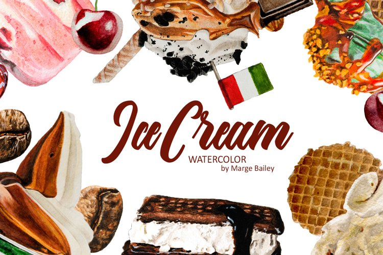 Watercolor Ice Cream Set