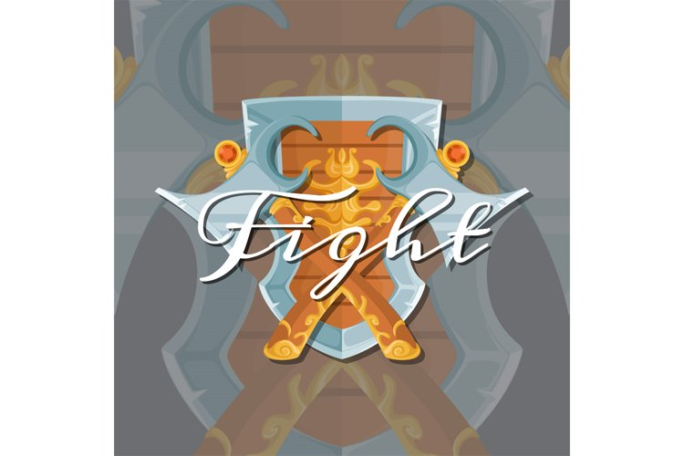 Vector fantasy cartoon style game design medieval crossed ax example image 1