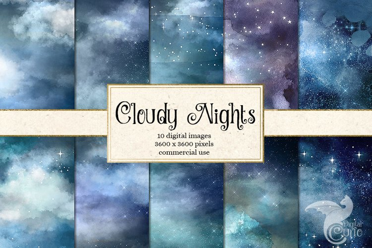 Cloudy Nights Watercolor Sky Backgrounds example image 1