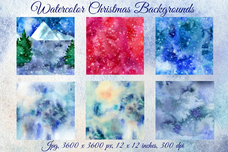 Christmas Background. Christmas Watercolor. Snow example image 1
