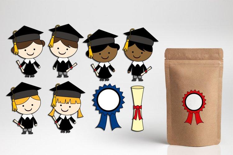 Graduation clipart / school graduate boys girls graphics