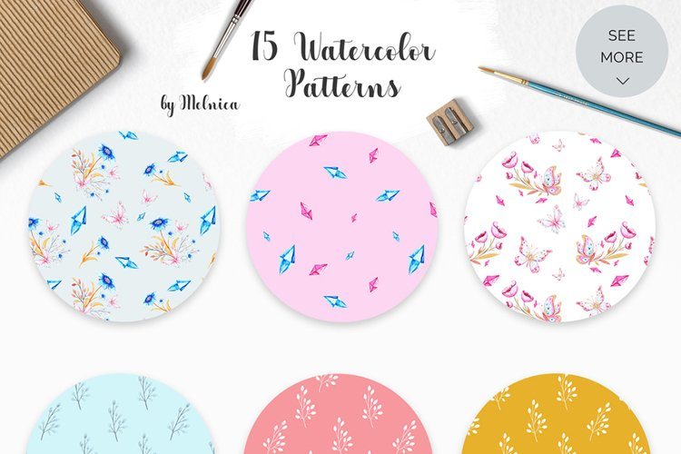 Butterflies and Crystals Seamless Patterns Bundle example image 1