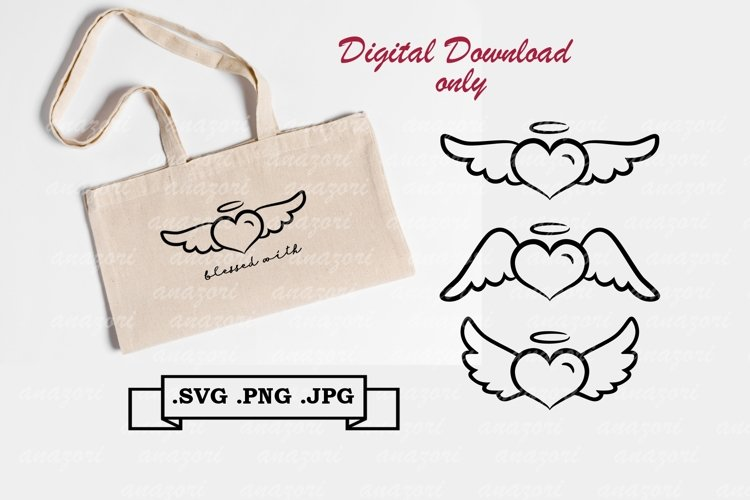 Angel Heart SVG - Heart Clipart - Valentine Day SVG example image 1