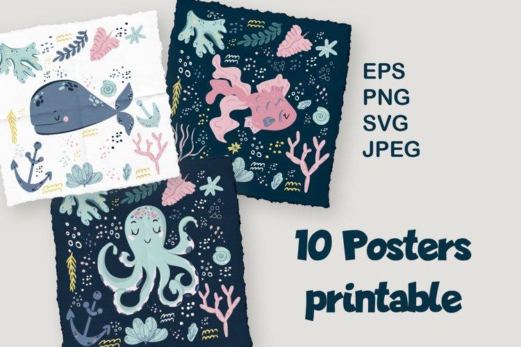 Marine animals printable posters set