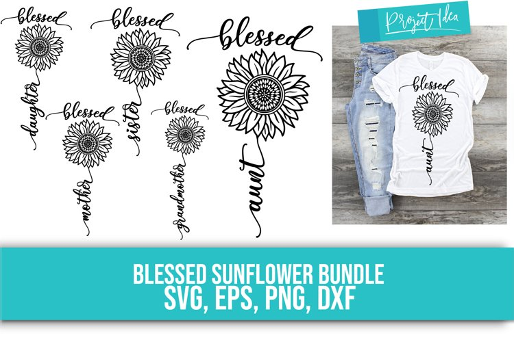 Mom, Sunflower- SVG, EPS, DXF, PNG example image 1