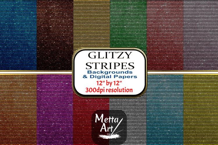 12 Seamless Pattern - 12 x 12 Glitzy Black Stripes Set