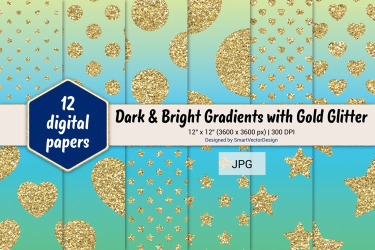 Polka Dot, Hearts, & Stars - Gradients with Gold Glitter #14 example image 1