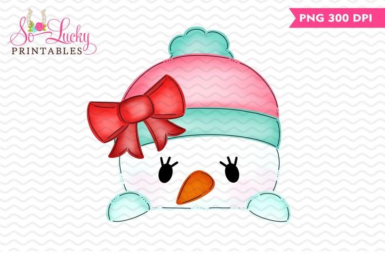 Snowgirl Peeker printable sublimation design example image 1