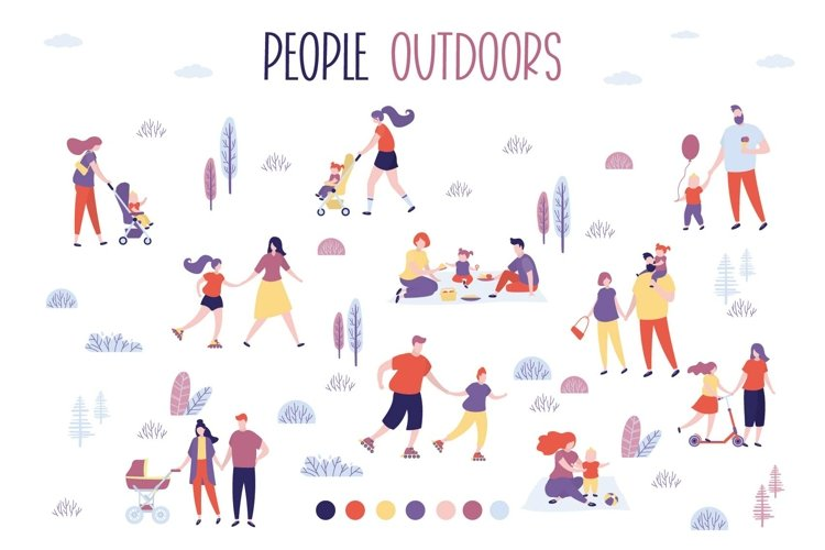 People outdoors, set of characters