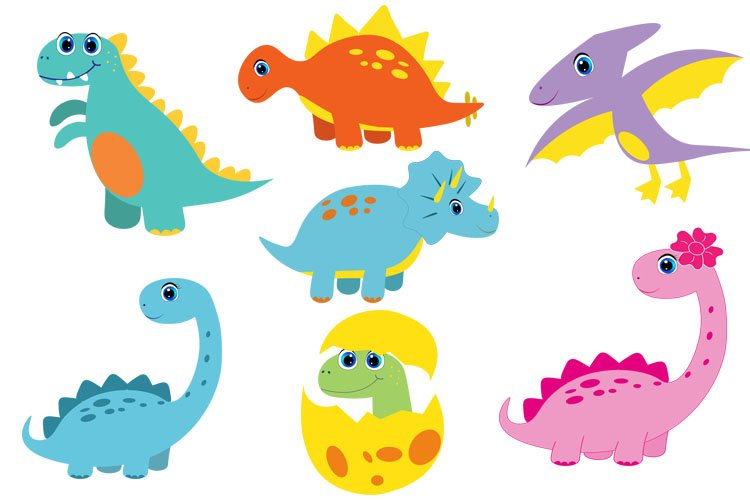 Cute Dinosaur Bundle svg, cute dino svg, clipart, funny dino example image 1