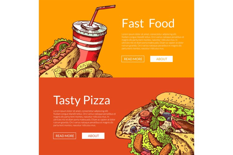 Vector horizontal banners with hand drawn fast food example image 1