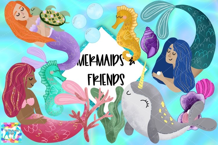 Glitter Mermaid & Friends Clipart example image 1