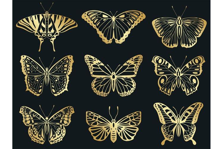 Golden butterflies. Shiny gold decorative butterflies silhou