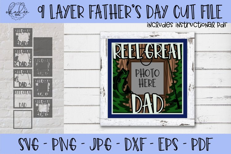 Father's Day SVG, Fishing SVG, 3D Shadowbox SVG, Dad SVG example image 1