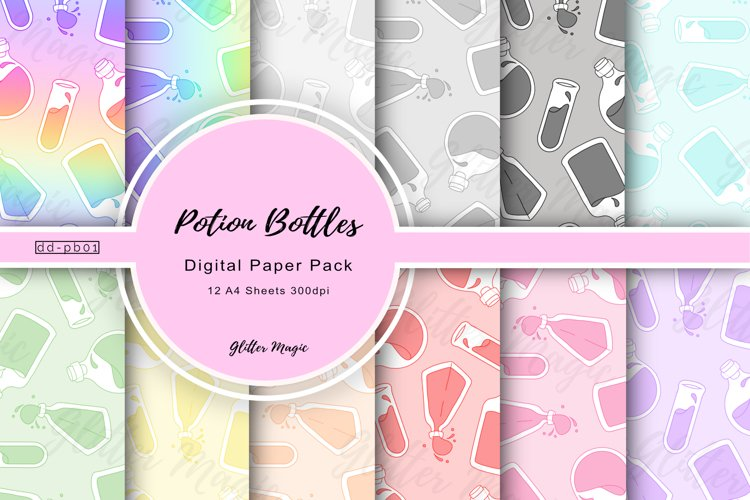 Rainbow Potion Bottles Craft Papers 12 A4 Sheets
