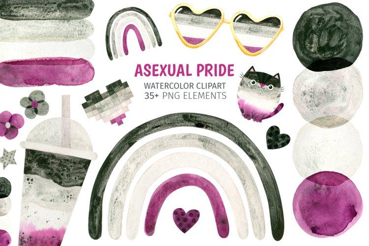 Asexual pride - watercolor clipart. LGBTQ art
