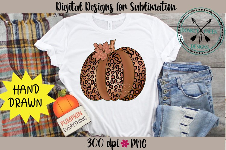 Gold Leopard Pumpkin Hand Drawn Sublimation PNG example image 1