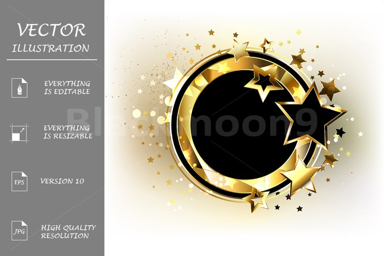 Round Gold Banner with Black Stars