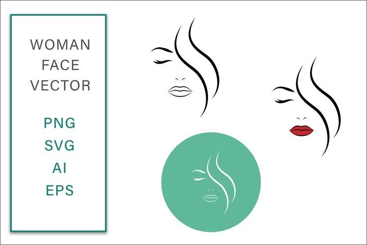 Feminine Face Vector Line Art Logo Graphic SVG Illustration example image 1