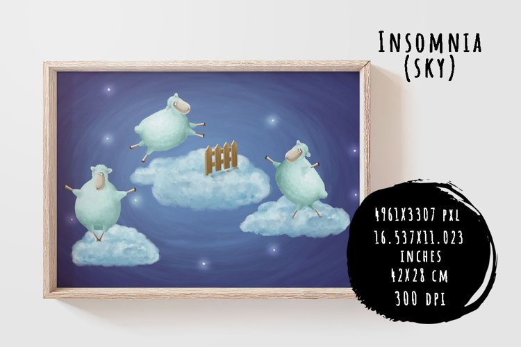 Insomnia. Sheep in sky example image 1