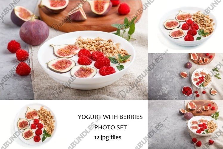 Yoghurt with raspberry, granola and figs example image 1