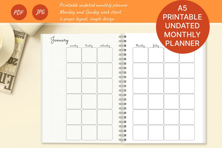 Printable A5 undated monthly planner. Month on 2 pages. PDF example image 1