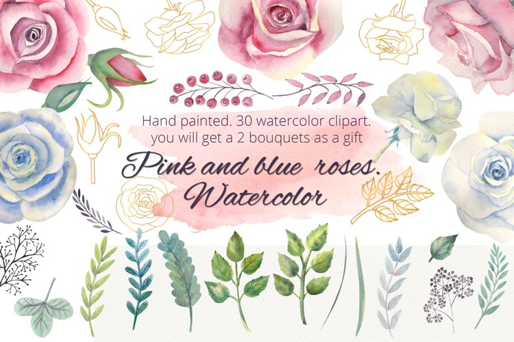 Pink and blue roses. Watercolor clipart example image 1