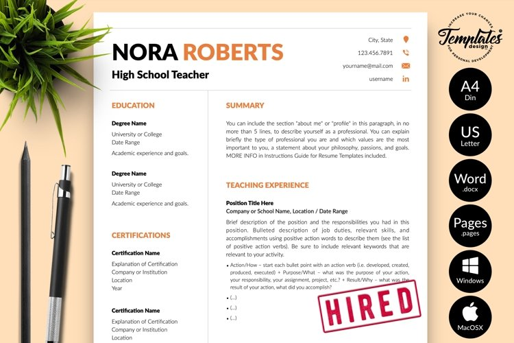 Teacher Resume CV Template for Word & Pages Nora Roberts example image 1