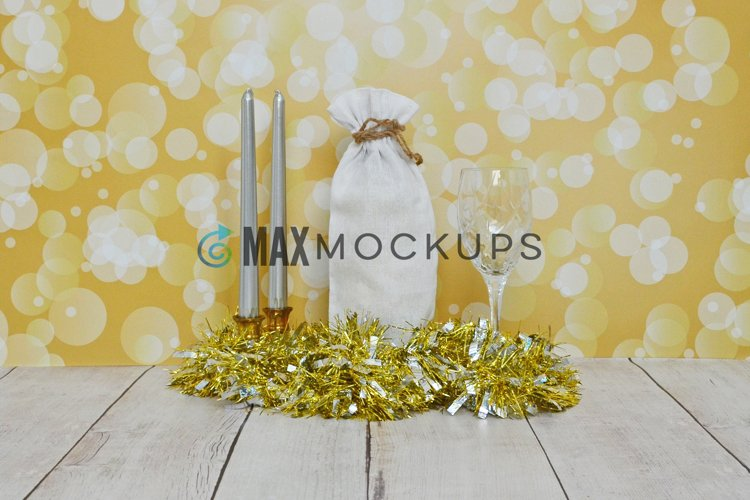 Wine bag Mockup, New Years, Valentines romantic gold, styled