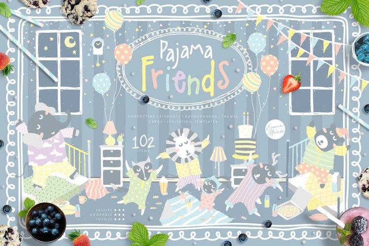 Cute Animals Pajama Party - Illustrations & Invitations example image 1