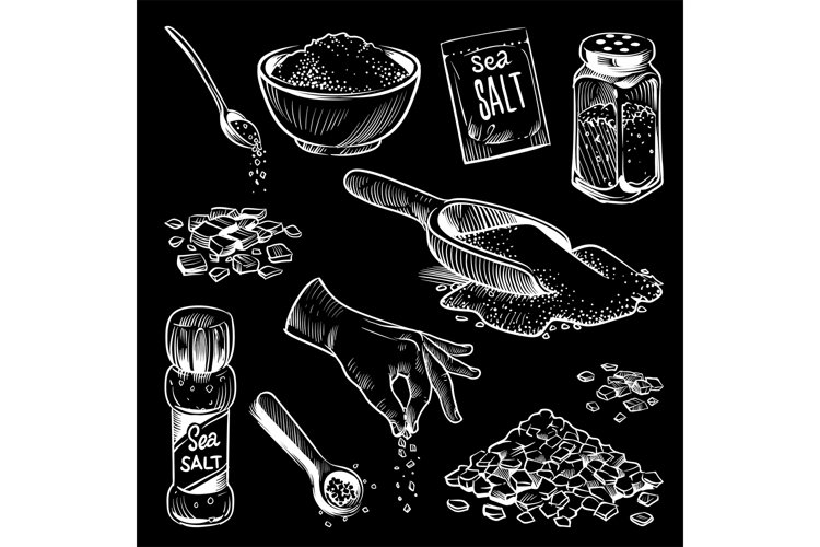 Sea salt. Hand drawn spice collection, salting crystals, bot example image 1