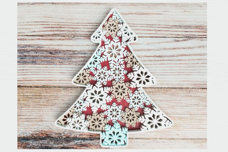 Christmas ornament laser cut file - Snowflake Christmas Tree example image 1