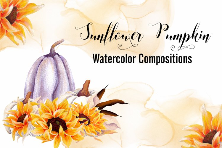 Sunflower Pumpkin- Watercolor Compositions example image 1