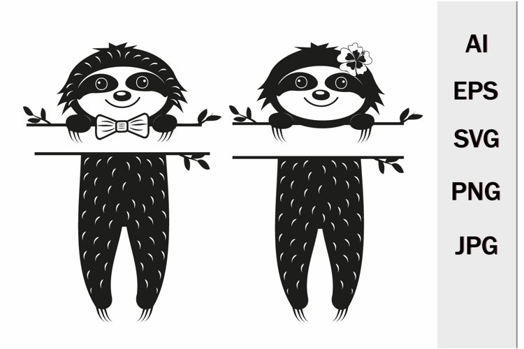 Sloths monogram with separator for text, svg format