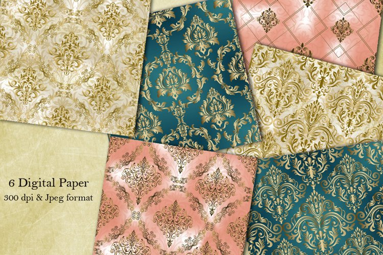 Victorian damask seamless pattern. Digital Paper. Scrapbook example image 1