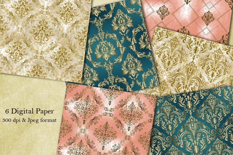 Victorian damask seamless pattern. Digital Paper. Scrapbook