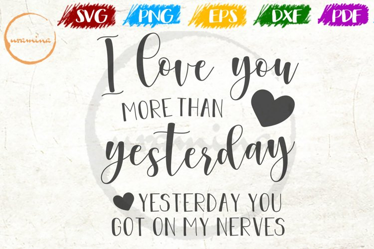 I Love You More Than Love Couple Anniversary Quote Art example image 1