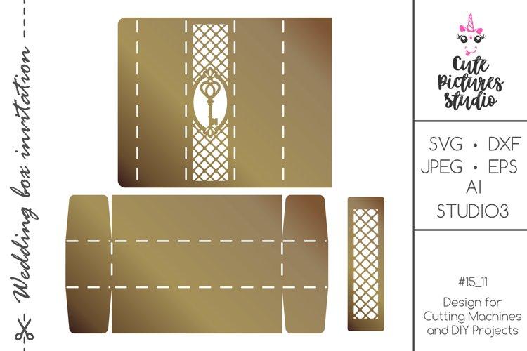 Laser paper cut scroll wedding invitation box SVG template example