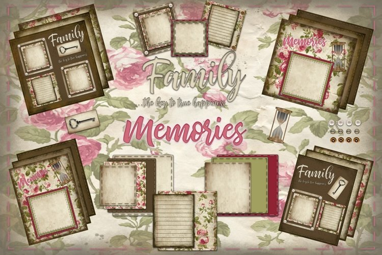 41pcs Family Memories Ready-Made and DIY Pages Scrapbooking
