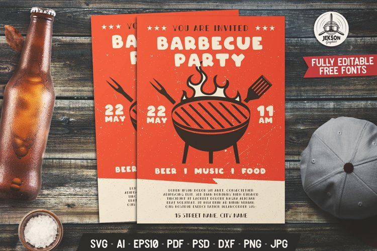 Barbecue Party SVG Card BBQ Editable Flyer Template DXF PNG example image 1