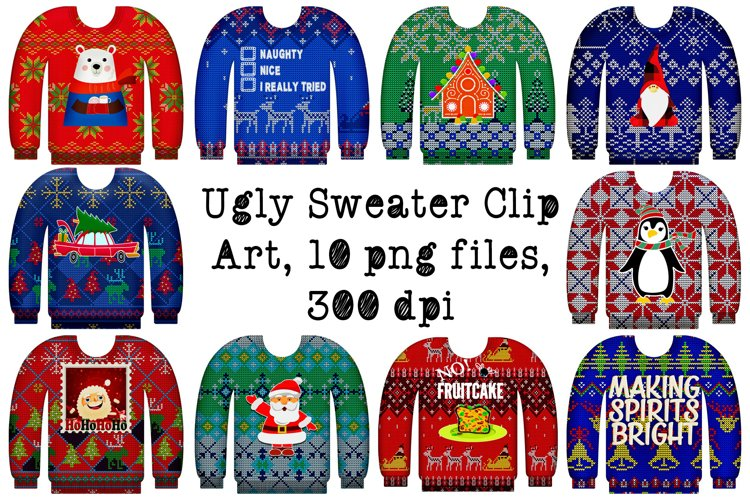 Ugly Christmas Sweaters with Graphics Clip Art