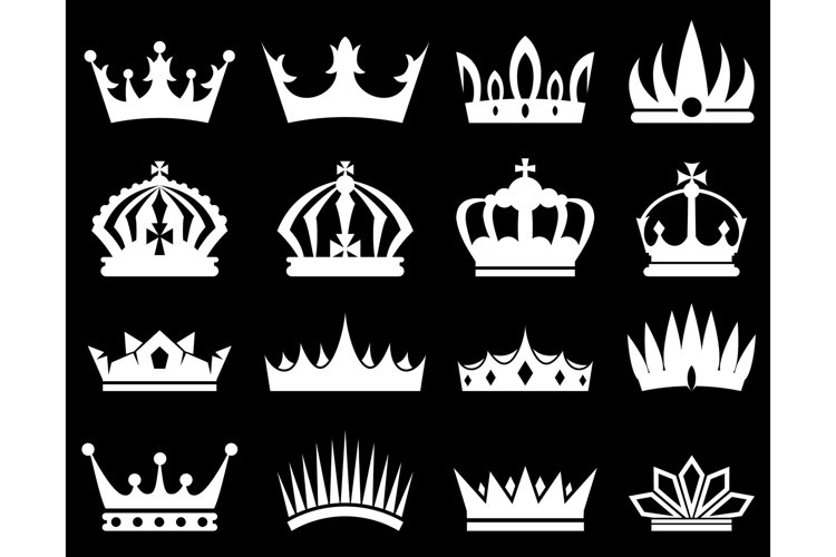 Crowns white silhouette set example image 1