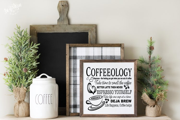 Coffeeology Kitchen or Coffee House Sign SVG DXF Cut File example image 1