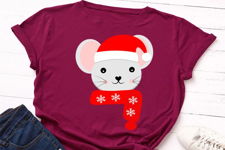 Christmas mouse clipart, svg,