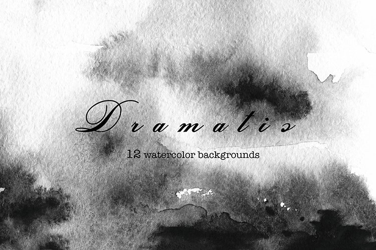 Dramatic watercolor black backgrounds and flowers collection